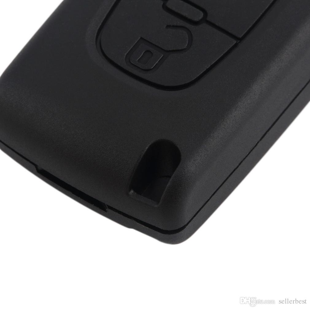 Caso di Shell chiave dell'automobile pieghevole a 3 pulsanti con interruttore della luce LED Citroen C4 C5 C6 C8 Xsara Picasso CE0523