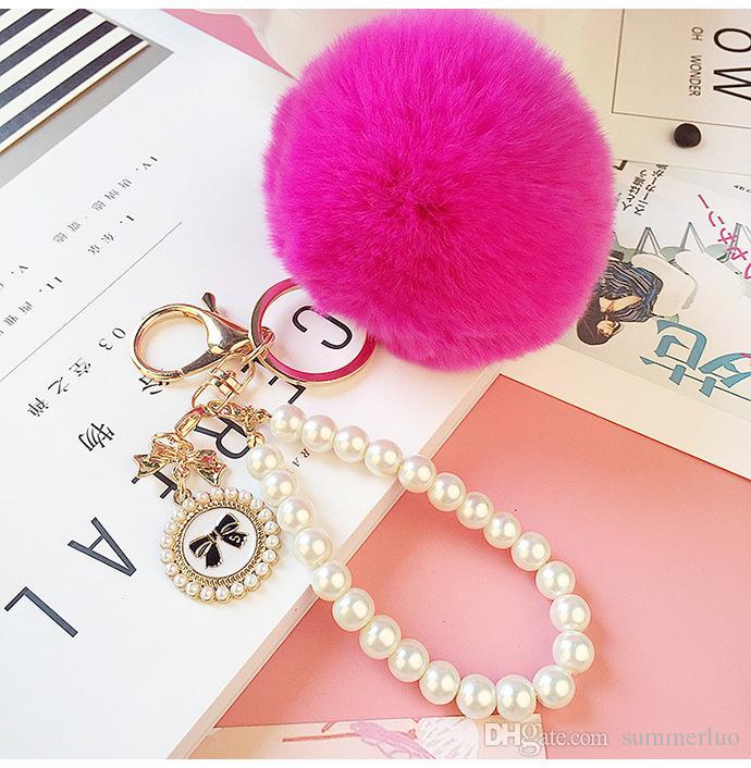 Keyring Key Ring 2016 New Really Good Quality Rabbit Hair Ball Pearl Phone / Car / Bag Pendant SS0006