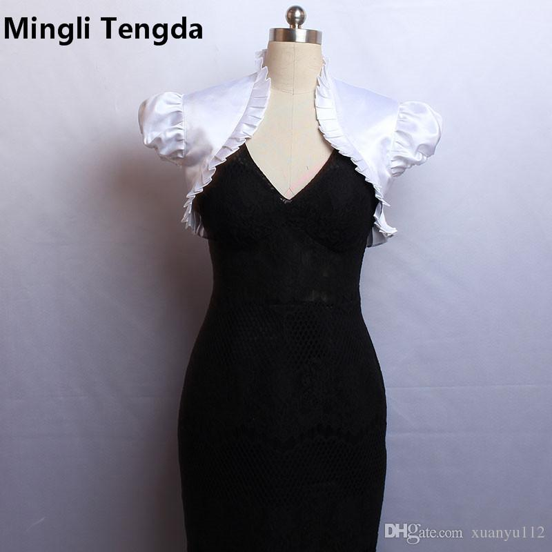Mingli Tengda Custom Made 2018 New Ivory/White Short Sleeves Wedding Jacket Wraps Bolero Stain Pleated Bridal Cap Wrap Shrug Wedding Jackets
