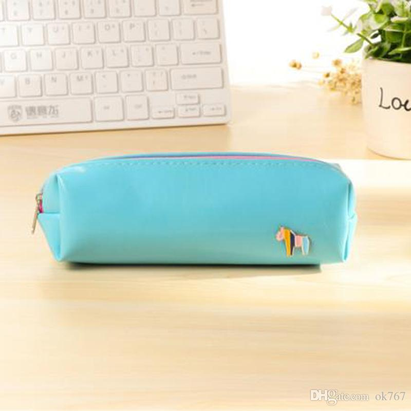 Fresh Style Candy Color Horse PU Leather Pencil Case Stationery Storage Bag School Supplies