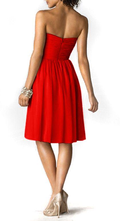 new 2018 hl dresses modest casual dresses Sunset Red Strapless short Chiffon 'Gemma' handmade hot Bridesmaid Dress
