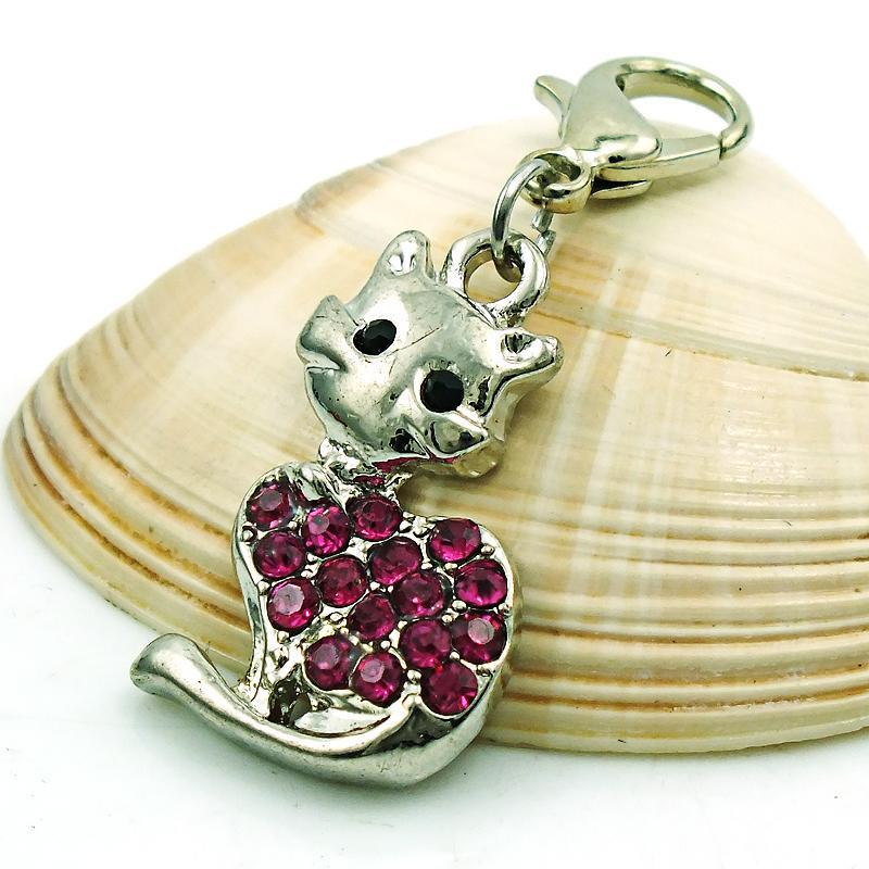 الأزياء المشبك جراد البحر سحر الفضة مطلي الوردي حجر الراين القط الحيوانات المعلقات diy سحر لصنع المجوهرات الملحقات