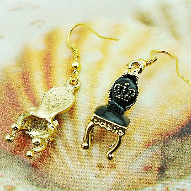 Fashion Bohemian Style Charms Earrings Stainless Steel Hooks Dangle Enamel Chair Pendants Earrings For Women Jewelry