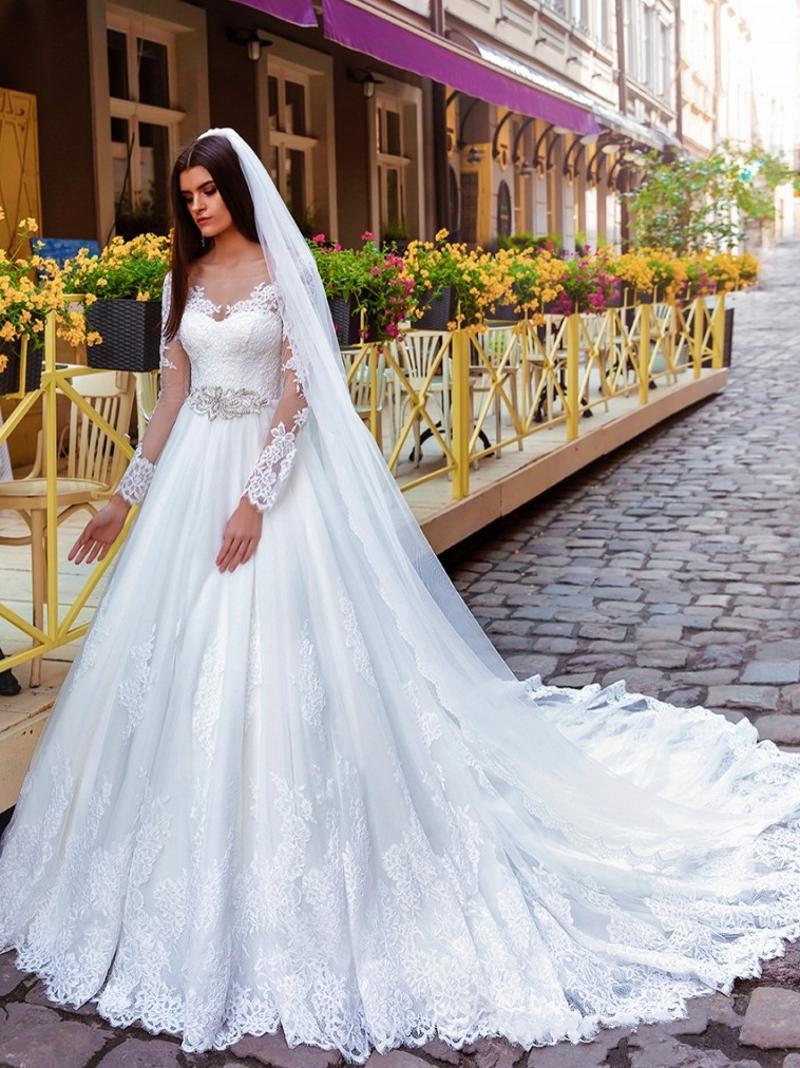 Großhandel Mieder Prinzessin Long Sleeves Brautkleider Illusion ...