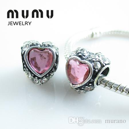 Venta al por mayor Diy Jewelry Silver Plated Love Beads Pink Crystal Aolly Large Heart Big Hole Granos sueltos Se adapta a la serpiente europea pulseras del encanto