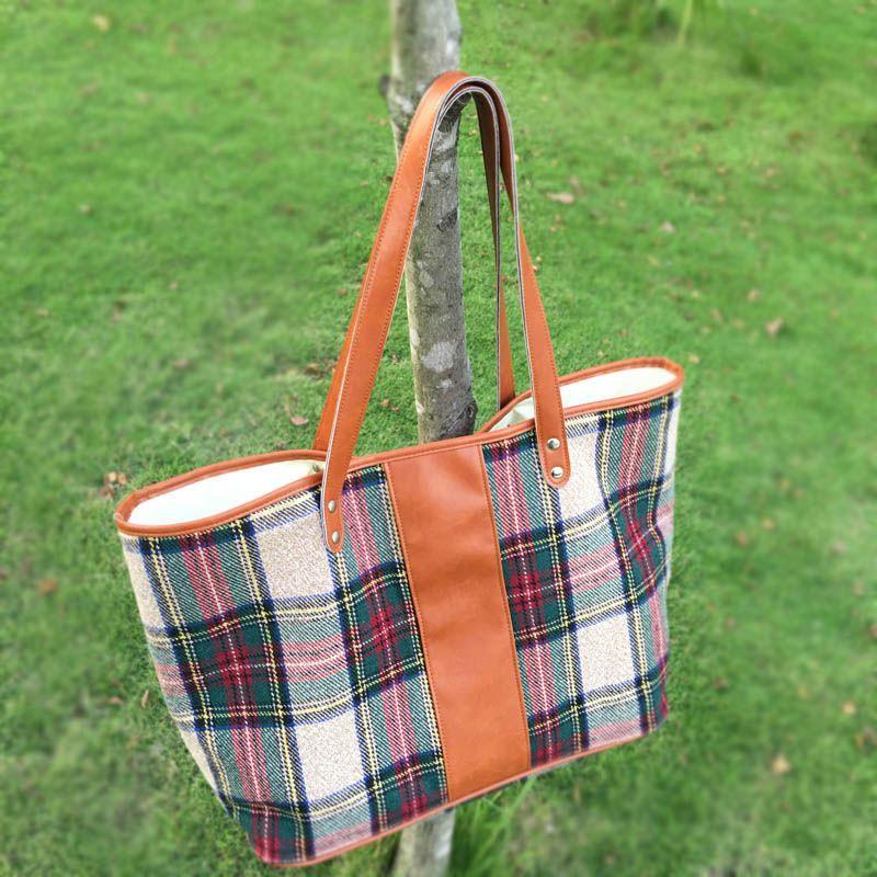 Wholesale Blanks Plaid Fashion Tote Bag with PU Faux Leather Handles Acrylic Wool Material Soft Handbag DOM103405