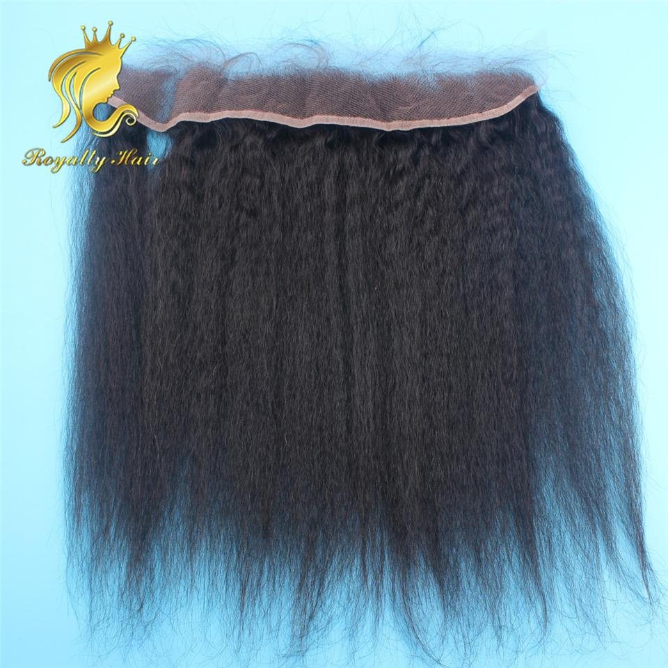 13*2 Kinky Straight Lace Frontal Closure With Baby Hair Brazilian Human Hair Ear To Ear Full Lace Frontals Bleached Knots