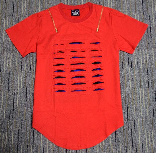 Taglio da uomo strappato tagliato estate novità uomini allungare T shirt estesa con plaid imbottito doppia cerniera Tee Man