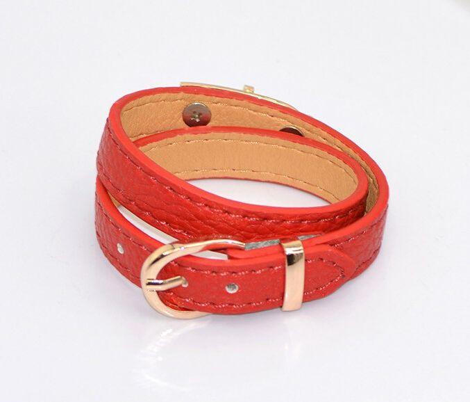 Hot New bracelet Women Multilayer Loop Leather Bracelet Narrow Wristband Lock Bangle Lady Classic Fashion Cuff Bracelet