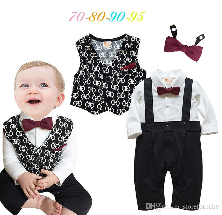 f378508bb 2019 2017 Spring Romper Sets Bow Knot Infant Baby Boy Rompers ...