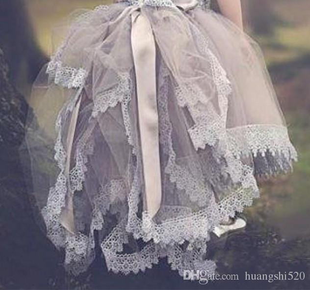 2016 Lavender Lace Vintage Flower Girl Dresses Kids Prom Dress Tulle Communion Girls Pageant Ball Gowns Children Wears For Weddings