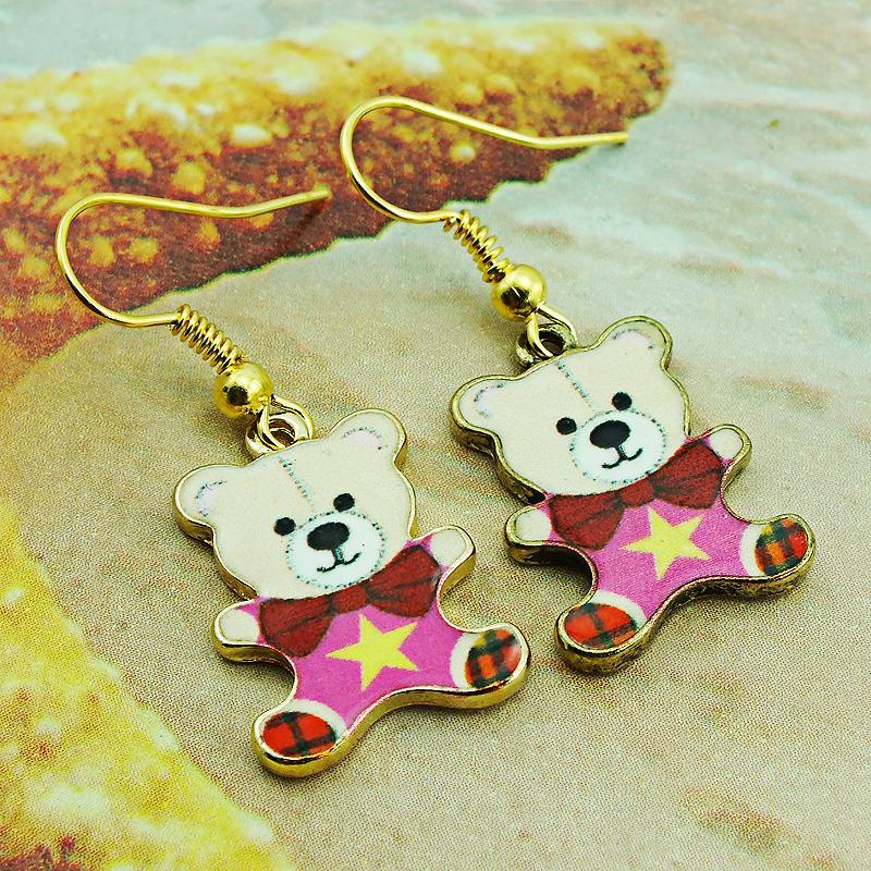 Bohemio moda encantos pendientes ganchos de acero inoxidable cuelgan colorido esmalte chapado en oro pendientes del oso para mujer joyería