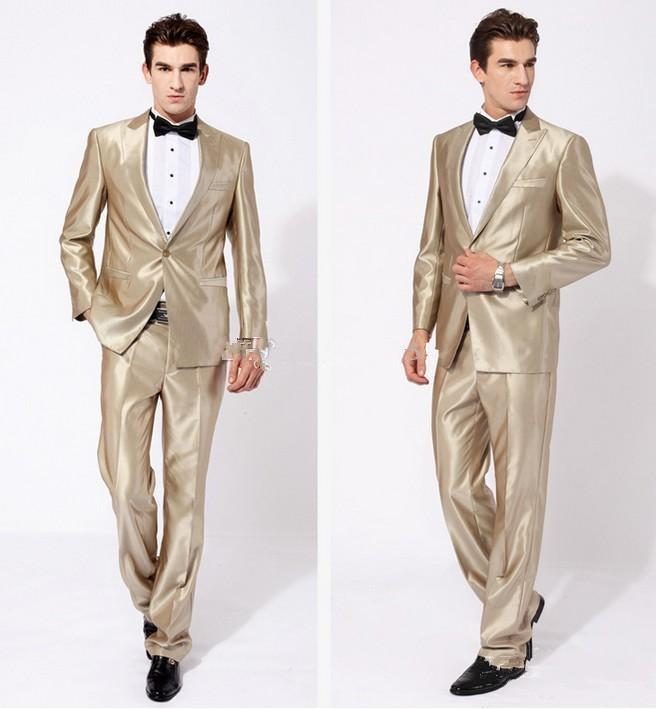 New Arrival Groom Tuxedos Peak Lapel Best man Suit Shiny Beige Groomsman/Bridegroom Wedding/Prom Suits Jacket+Pants+Tie for Wedding