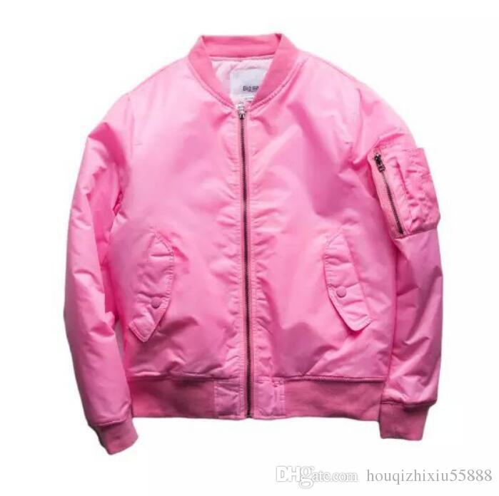 3f08e81aa Pink Pilot Jacket Mens Bomber Jackets New Military Style Sider Pocket  Fashion Brand Flight Jackets Free Shipping