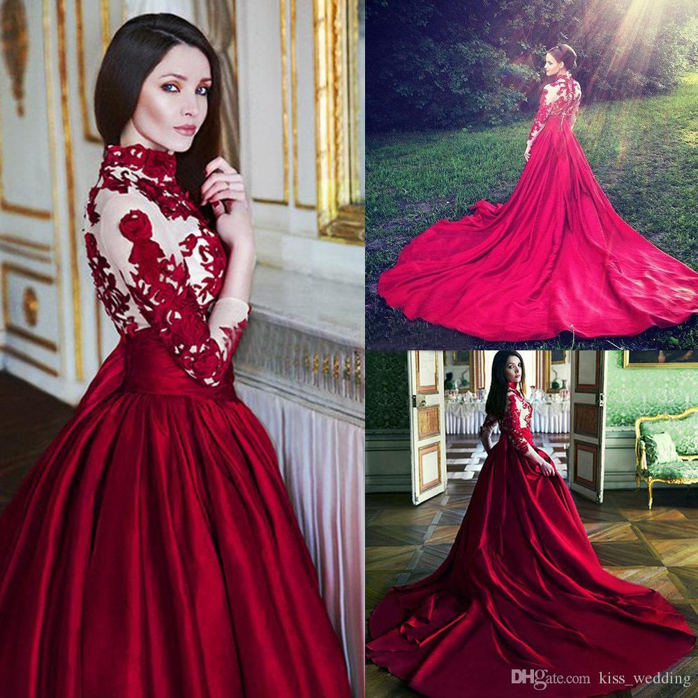 1de3610dff Discount New High Neck Dark Red Wedding Dresses With Sleeves Long Train  Vintage Appliqued Bridal Gown Dubai Arabic Womens Formal Dress For Event  Empire Line ...