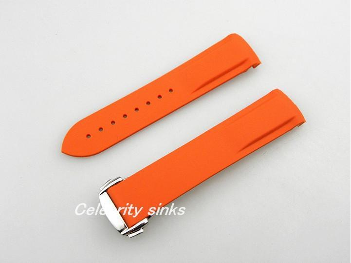 22mm boucle de 20 mm NOUVEAU TOP GRADE orange Bracelet en silicone plongée en caoutchouc imperméable sangles avec boucle d'argent pour Omega Watch