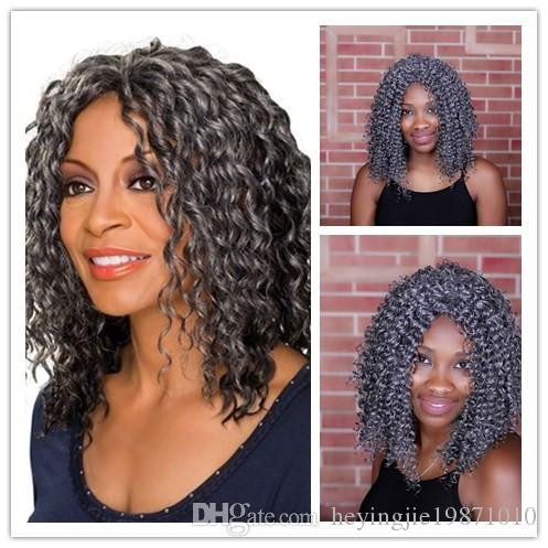 Xiu Zhi Mei 16inch Ladies Silver Grey Curly Wig Heat Resistant Synthetic Medium Length Wigs For African American Women