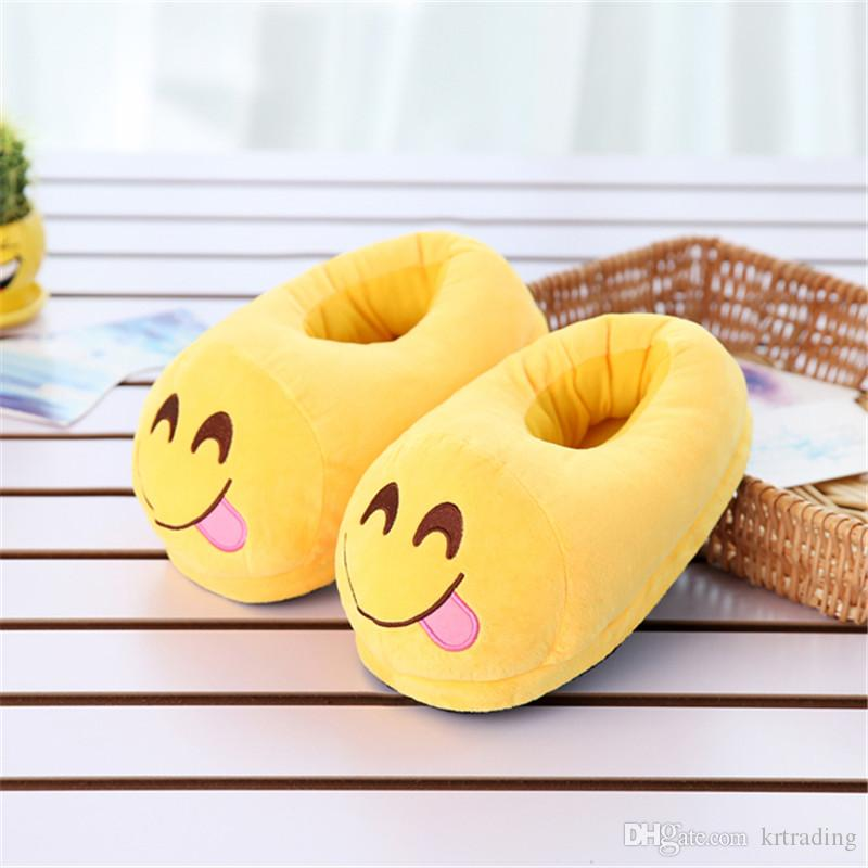 "Multi style Emoji Soft Warm Indoor Slipper 11"" 28.5cm Emoji plush anti-slip indoor shoes cartoon slippers shoes"