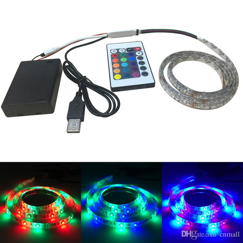 1m 60leds rgb led light strip battery powered rgb remote controller usb cable battery box smd. Black Bedroom Furniture Sets. Home Design Ideas