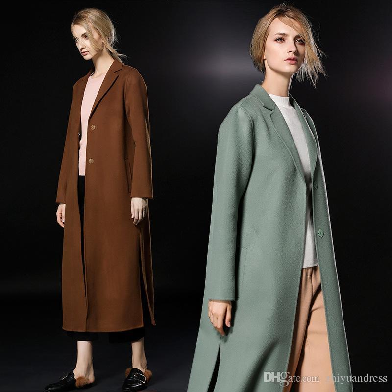 laest technology sale online fresh styles 2019 2018 Long Caramel/Mint Womens Winter Wool Coats Lapel Neck Fashion  High Quality Cashmere Coats Ladies Outerwear Woolen Coats From  Zhiyuandress, ...