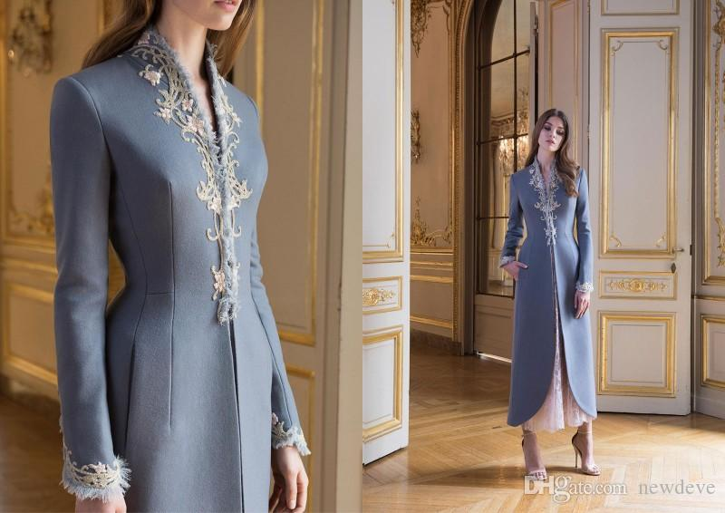 2019 Paolo Sebastian Elegant Lace Appliques Ladies Outfit With Long