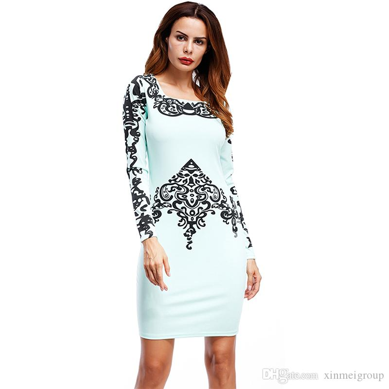 c15e499aa8 Girls Party Lace Dresses Ladies Round Neck Long Sleeve Elegant Autumn  Vestido Festa Blue Bodycon Casual Formal Knee Length Dress WX03483 Shop  Cocktail Dress ...