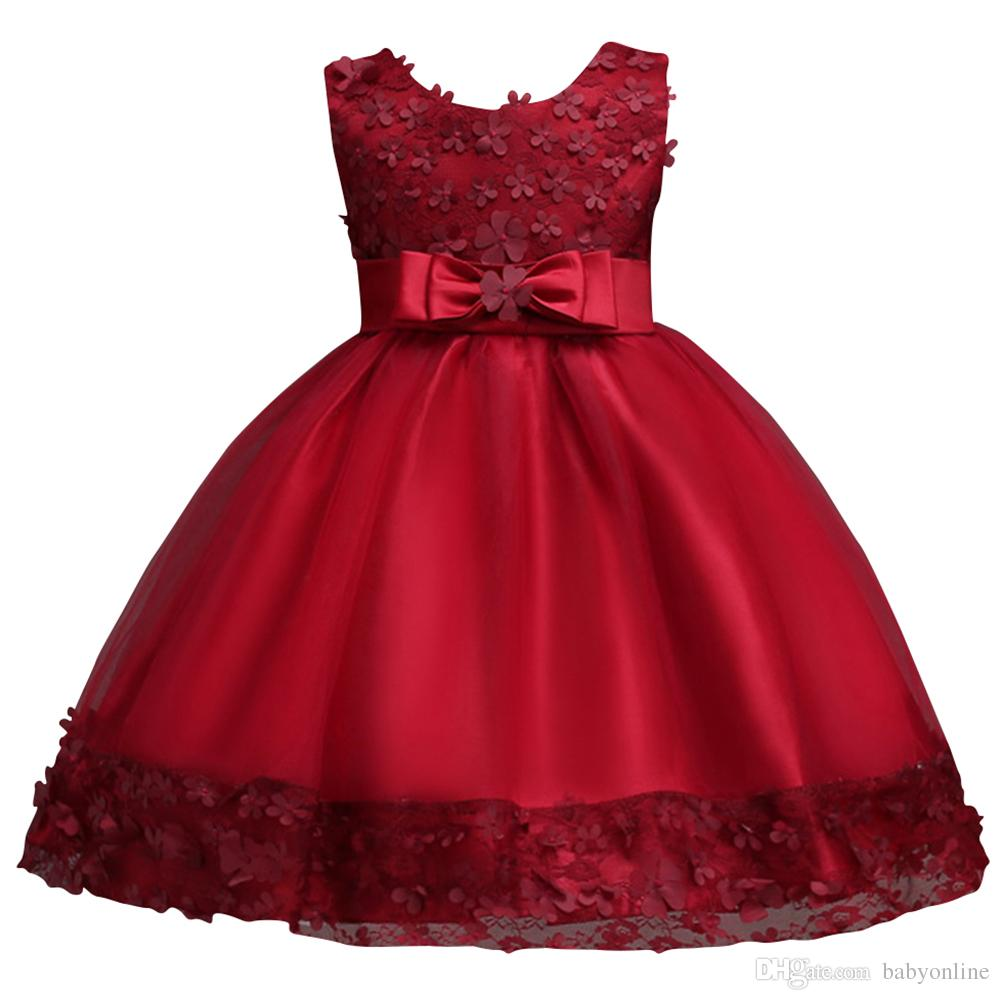 Lovely Pink Purple Ball Gown Flower Girl Dresses with Bow Sash Cheap Kids Birthday Party Evening Dresses MC0890