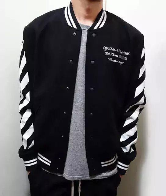Fall C/O Virgil Abloh Varsity Jacket Men Clothes College Baseball ...