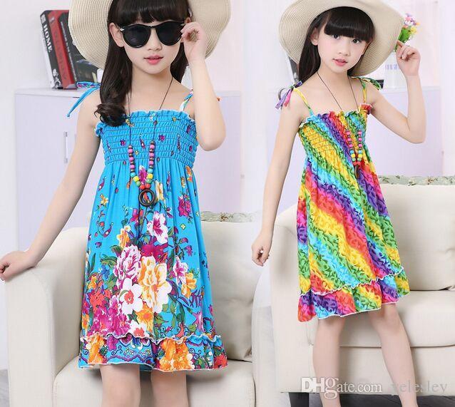 52e0dc0e15 2019 Rainbow Beach Dress Girl Dress Long Bohemian Beach Dresses Kids  Princess Flower Dress Kids With Necklace Girls Sleeveless Cotton Dress From  Yelesley, ...
