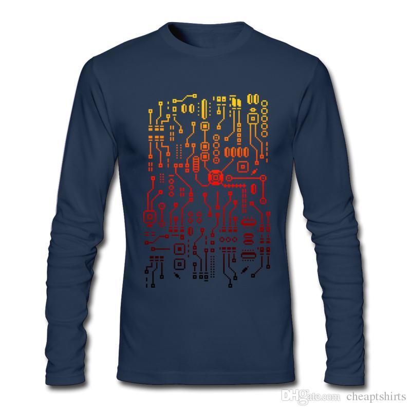 new concept 9152c 197ab T-shirt col rond hommes modernes manches longues homme fine carte de  circuit imprimé automne tee-shirt pratique tees bleu foncé pour les gars IC  ...