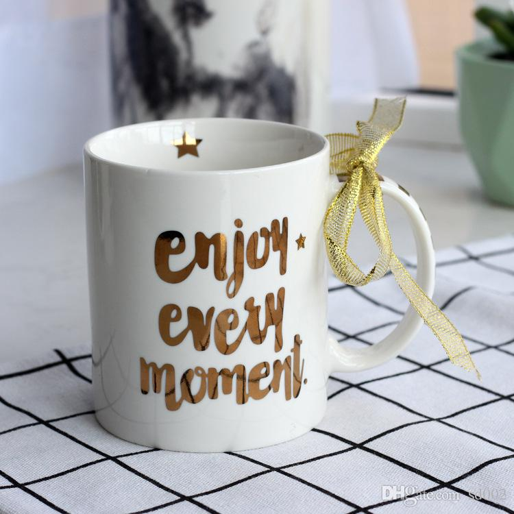 Gilding Coffee Cup New Creative English Letter Milk Mug Heat Resisting Office Tumbler Many Styles 15qj C R