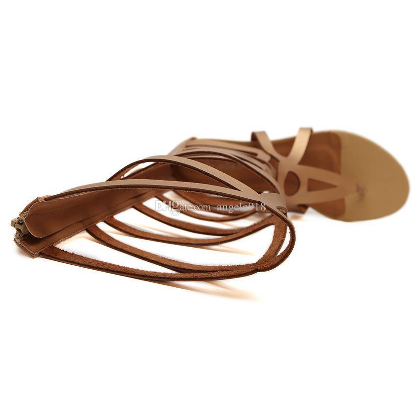 Nouveau Mode Femmes Bout Ouvert Talon Plat Creux Chaussures Romaines D'été Dame Gladiateur Bottes Romaines Sandales Livraison gratuite C729