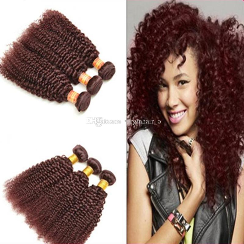 Wine Red Brazilian Hair Weave Bundles 99j Kinky Curly Hair