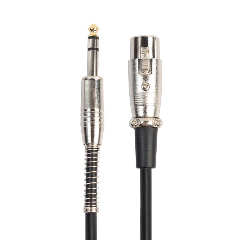6.35mm Jack Male to XLR 3PIN Female Microphone Cable Zinc Alloy Gold-Plated Connector Audio Cables Cord Wire Adapter with Spring