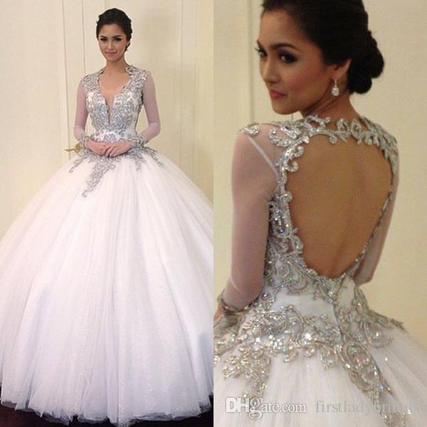 Quinceanera Dresses Light Pink Open Back Illusion Long Sleeve ...
