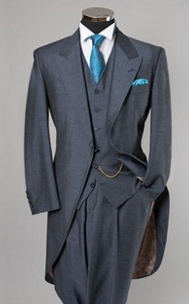 Tailcoat Novios Tuxedos de boda para hombres Trajes de la mañana para el mejor traje de novio para hombre Vestidos de boda de un botón Slim Fit Vestidos de rendimiento