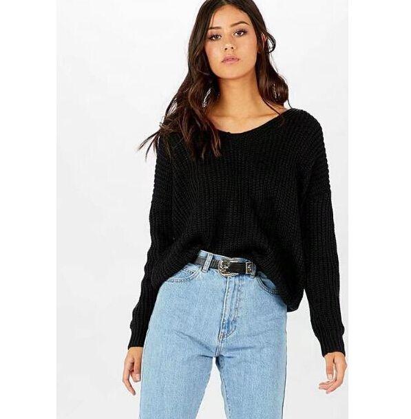 Осень женщины Сексуальная повязки дизайн свитера V-образным вырезом назад впадины с длинными рукавами кофты топы пуловеры