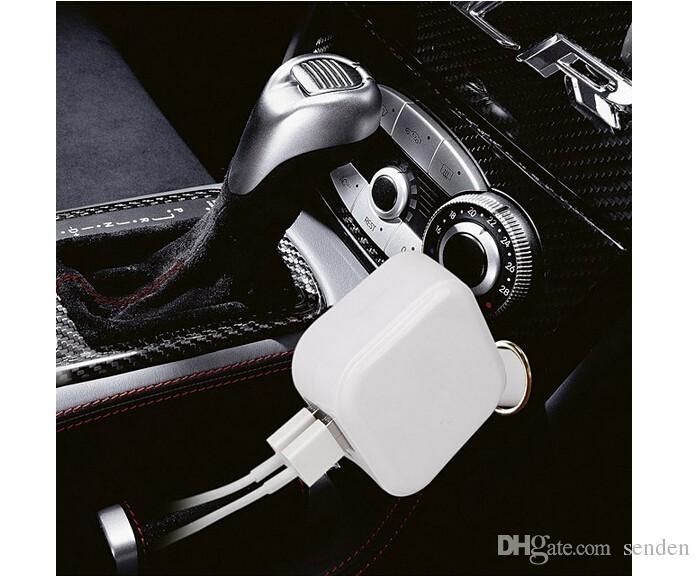 Venta al por mayor Universal 2 en 1 Puerto USB doble DC 5V 2.1A Cargador de coche plegable Adaptador de corriente para el hogar / Enchufe de pared Coche doble USB Cigarrillo de carga plegable