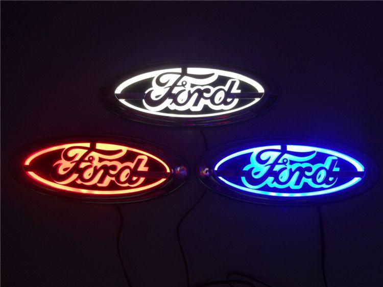 5D led araba logosu lamba 14.5 cm * 5.6 cm Ford Odak Mondeo Kuga için araba rozeti LED lamba Otomatik lazer ışıkları 3D arka amblem sticker hayalet gölge ışık