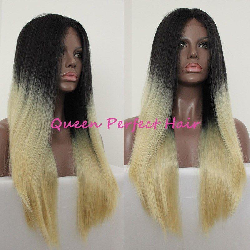 Günstige gute Qualität lange seidige gerade synthetische Spitze Front Perücke zwei Ton ombre dunkle Wurzeln blonde Farbe Haar Mode Stil weiches Haar voller Perücke