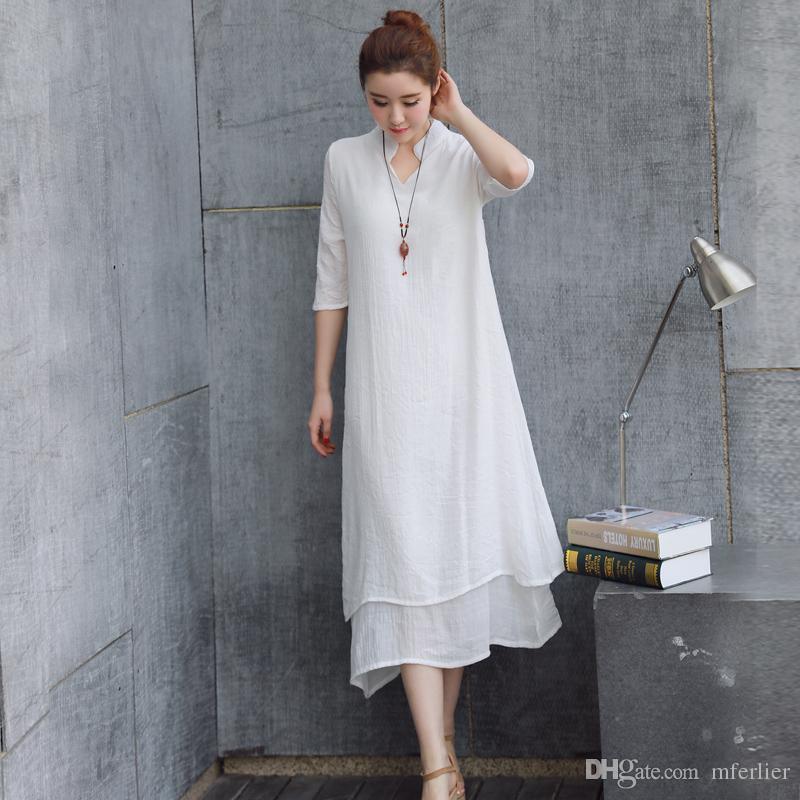 Women Dress Summer Dress Plus Size False Two Piece Solid Color