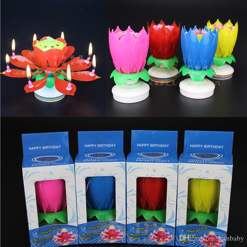 2018 Wholesale Birthday Candle Music Candles Party Decoration Lotus Flower Double Layered Rotating Sound Cake Topper Red Blue Yellow Pink From Spinbaby