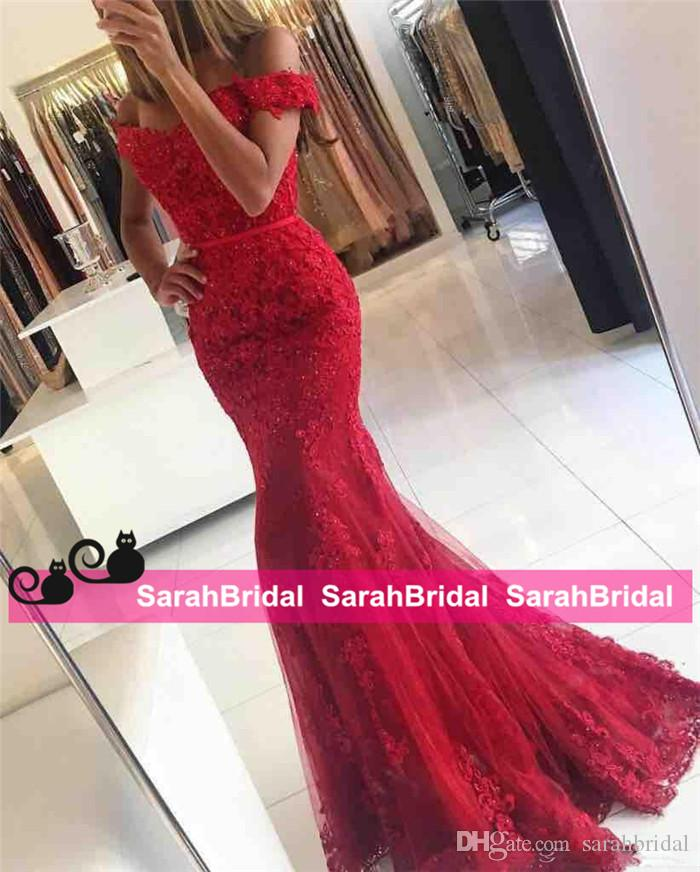 New Red Lace Mermaid Prom Dresses veatidos off Shoulder Beaded Appliques Tulle Full Length Long African Evening Gowns Formal Party Wear