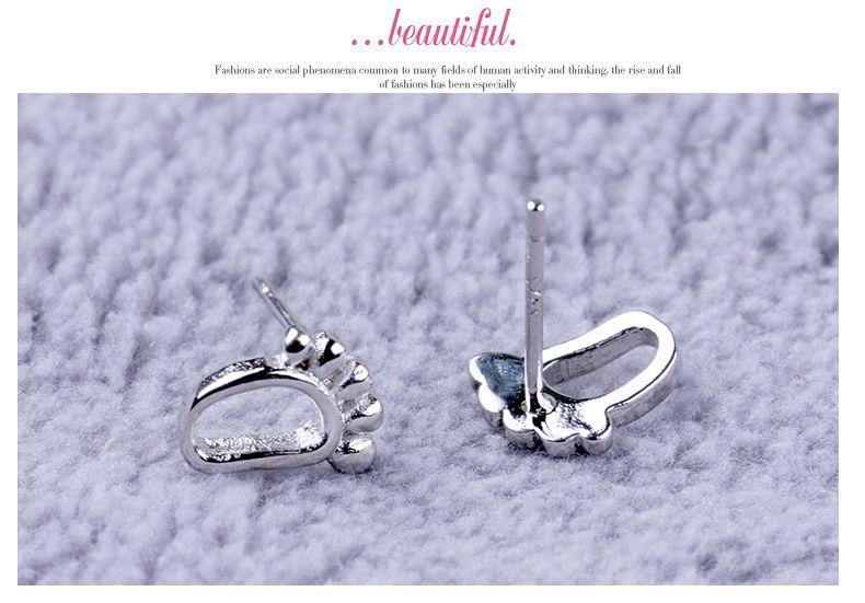HYWo Korea style Cute Stud Earrings 925 Silver percé boucles d'oreilles empreintes féminines modèles de mode mignon vintage gros bijoux