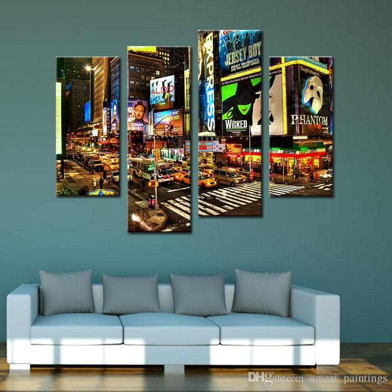 4 Piece Wall Art Painting New York Times Square Pictures Prints On Canvas City The Picture Decor Oil For Home Modern Decoration