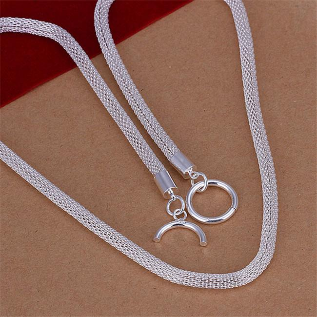 Net Necklace sterling silver plate necklace STSN087, fashion 925 silver Chains necklace factory direct sale christmas gift