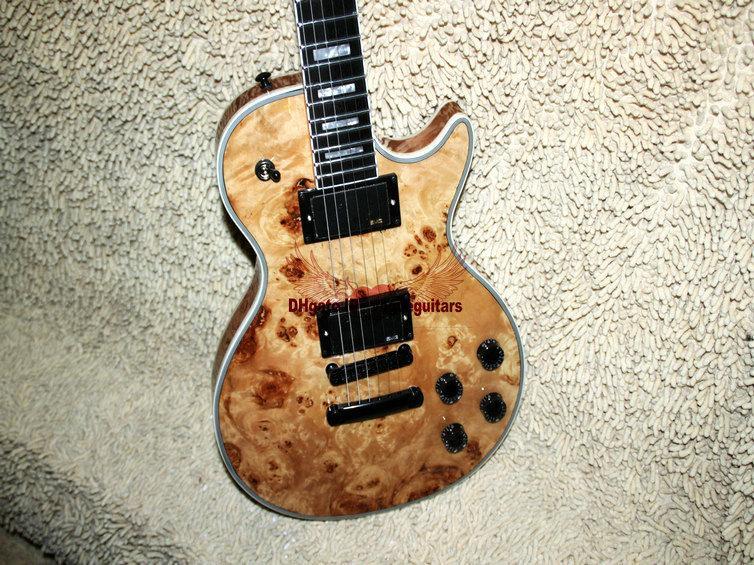 Guitarras al por mayor de encargo Guitarra eléctrica de madera One Piece Neck Ebony fingerboard guitarra envío gratis