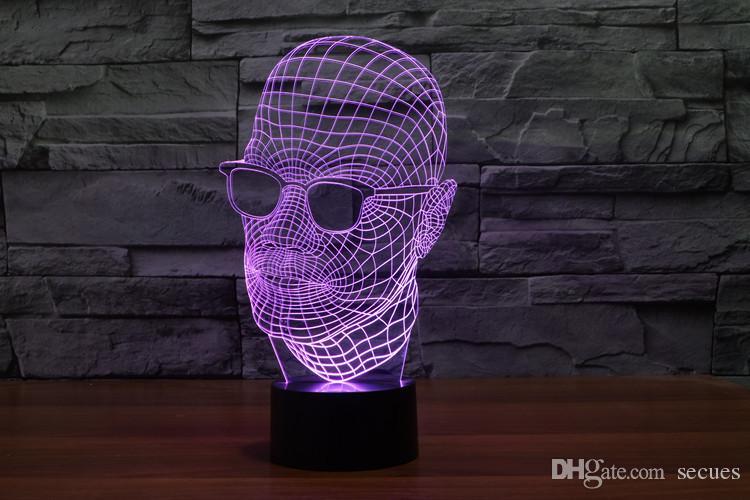 2017 homme lunettes homme en noir Lampe optique 3D Night Light 9 LED Night Light DC 5V coloré lampe 3D