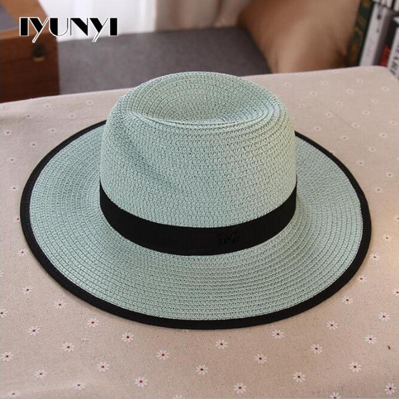 187a4a73e9dc6 Wholesale Iyunyi Women Fashion Summer M Letter Black White Wide Brim Straw  Beach Jazz Fedora Sun Hat Hats Bucket Hats From Haydena