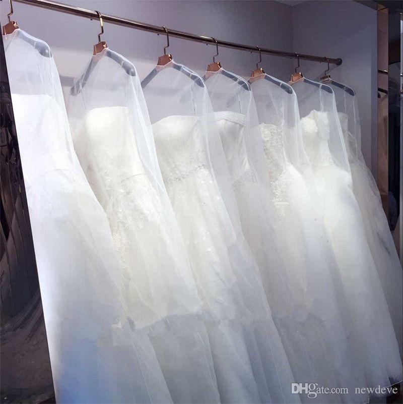 Robe de mariée en gros Sac Sac de couverture de vêtement Voyage Couvre-poussière de stockage Accessoires de mariée Sacs à poussière clair Livraison gratuite